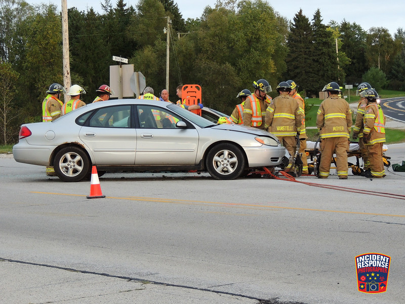 Two-vehicle crash with injuries on State Highway 28 at Broadway Street in Sheboygan Falls, Wisconsin on Monday, October 3, 2016. Photo by Asher Heimermann/Incident Response.