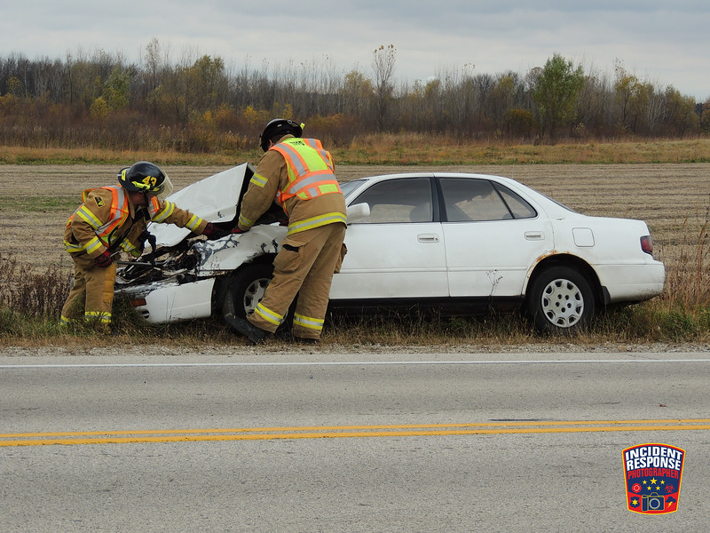 Three-vehicle crash in front of W2945 State Highway 28 in Town of Lima, Wisconsin on Monday, October 31, 2016. Photo by Asher Heimermann/Incident Response.