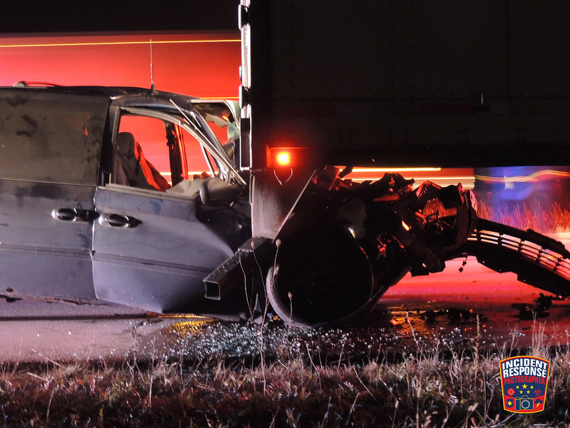 A mini-van crashed into a semi on Interstate 43 south of County Road V in Town of Wilson, Wisconsin on Monday, November 7, 2016. Photo by Asher Heimermann/Incident Response.