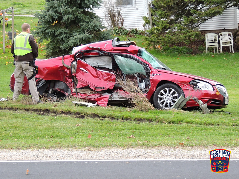 One person was killed in a two-vehicle crash at County Road V & County Road NN in the Town of Lyndon, Wisconsin on Tuesday, November 8, 2016. Photo by Asher Heimermann/Incident Response.