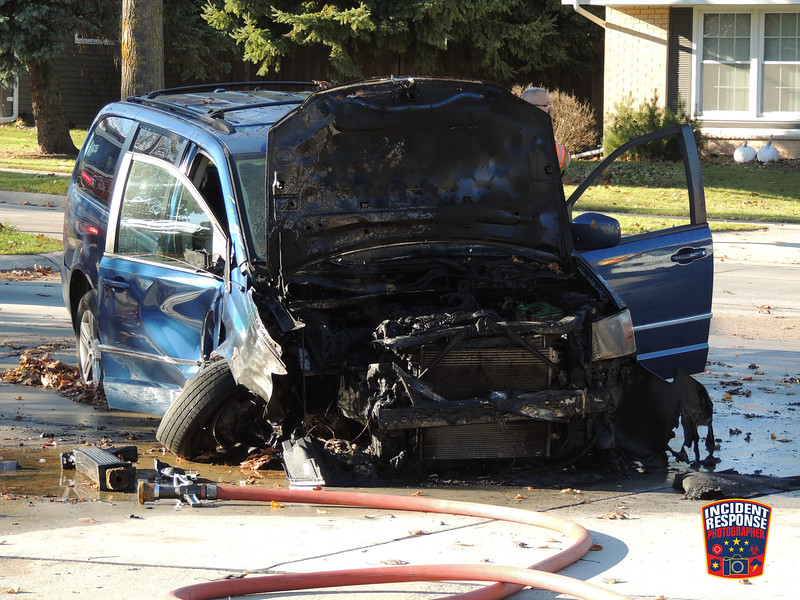 Single vehicle crash with fire and injuries on North Avenue at North 31st Street in Sheboygan, Wisconsin on Sunday, November 13, 2016. Photo by Asher Heimermann/Incident Response.