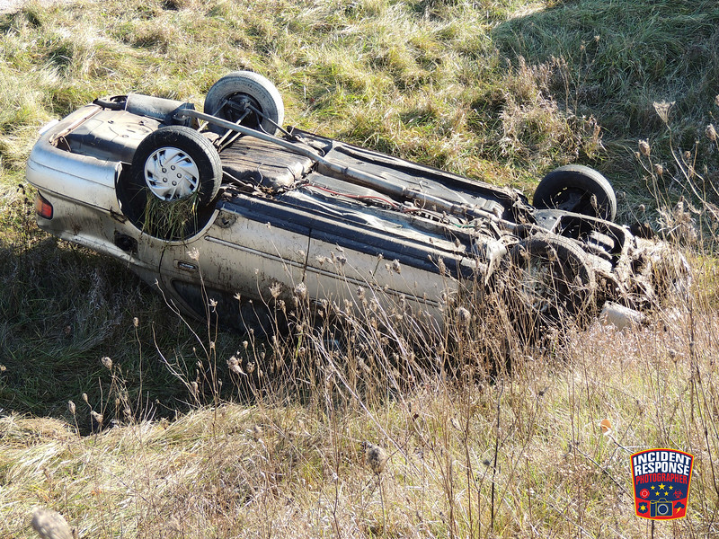 Single vehicle rollover crash on Highway 57 south of Abbott Drive in Random Lake, Wisconsin on Tuesday, November 29, 2016. Photo by Asher Heimermann/Incident Response.