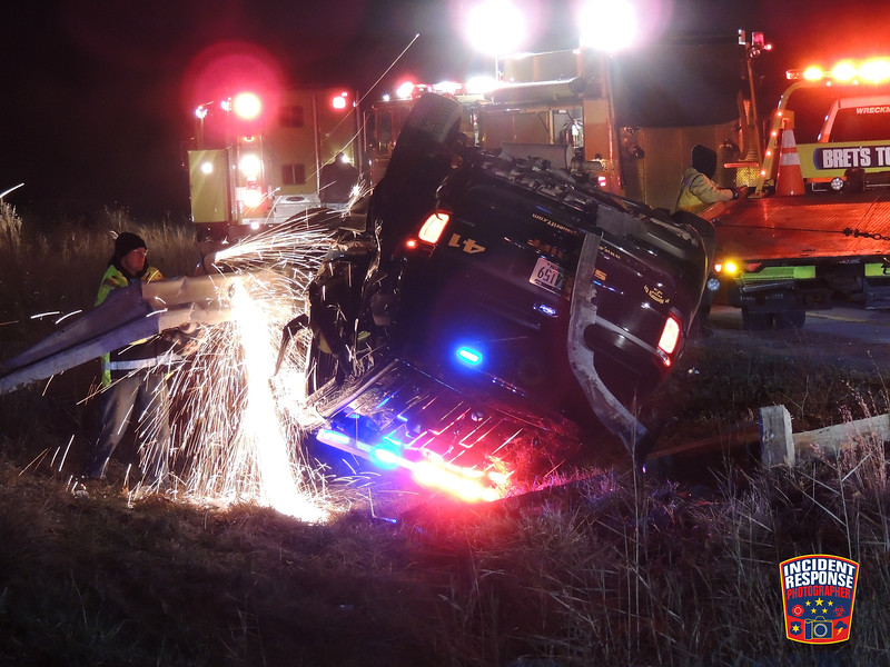 A Sheboygan County Deputy Sheriff was rear-ended which resulted in the squad car rolling over on Interstate 43 at County Road PP in Sheboygan, Wisconsin on Friday, December 9, 2016. Photo by Asher Heimermann/Incident Response.