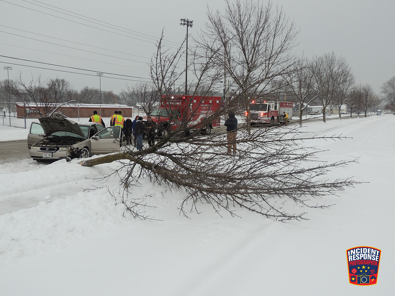 Single vehicle crash involving a tree in the 2300 block of New Jersey Avenue in Sheboygan, Wisconsin on Sunday, December 11, 2016. Photo by Asher Heimermann/Incident Response.