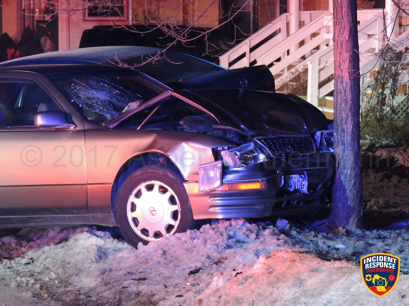 Two vehicle accident on North 7th Street south of Michigan Avenue in Sheboygan, Wisconsin on Sunday, January 1, 2017. Photo by Asher Heimermann/Incident Response.