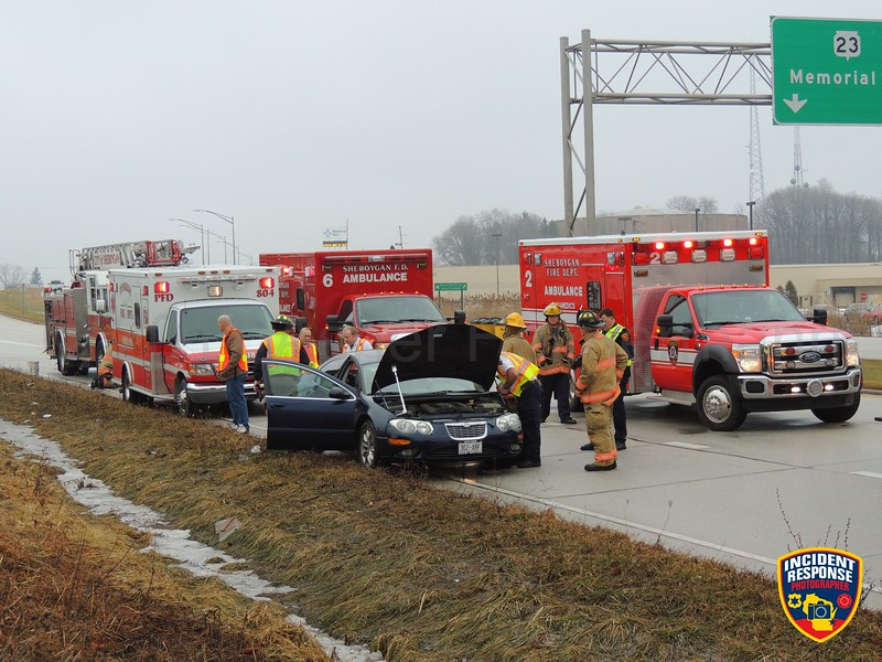 Two-vehicle accident on Highway 23 west of North Taylor Drive in Sheboygan, Wisconsin on Friday, January 20, 2017. Photo by Asher Heimermann/Incident Response.