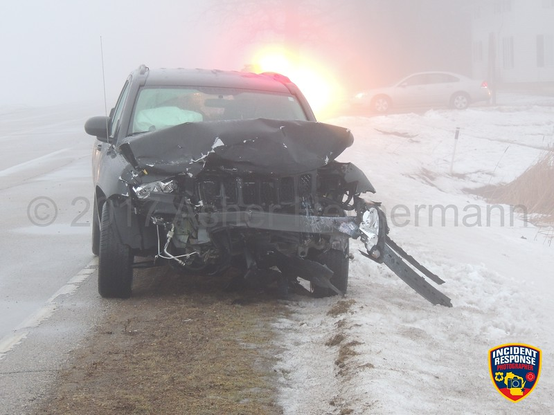 Two-vehicle accident at Highway 32 & County Road V near Sheboygan Falls, Wisconsin on Tuesday, February 7, 2017. Photo by Asher Heimermann/Incident Response.