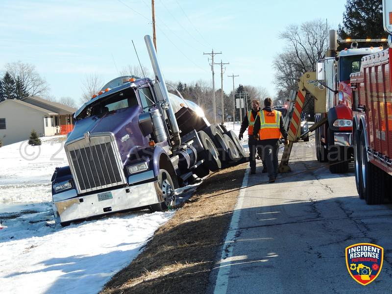 A semi overturned on County Road OO west of Highway 32 in the Town of Lima, Wisconsin on Thursday, February 13, 2017. Photo by Asher Heimermann/Incident Response.