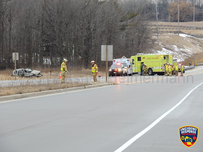 Flight for Life responded to a rollover crash on Highway 28 west of Target in Kohler, Wisconsin on Thursday, February 16, 2017. Photo by Asher Heimermann/Incident Response.