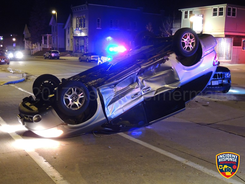 Two-vehicle rollover injury crash at North 12th Street & Michigan Avenue in Sheboygan, Wisconsin on Saturday, February 18, 2017. Photo by Asher Heimermann/Incident Response.