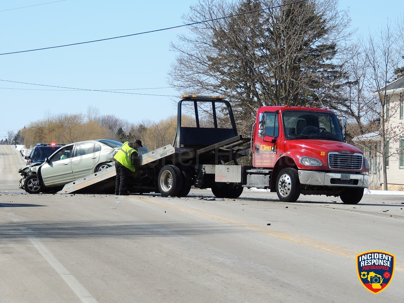 Two-vehicle accident at County Road O & Rangeline Road in the Town of Sheboygan, Wisconsin on Wednesday, March 15, 2017. Photo by Asher Heimermann/Incident Response.