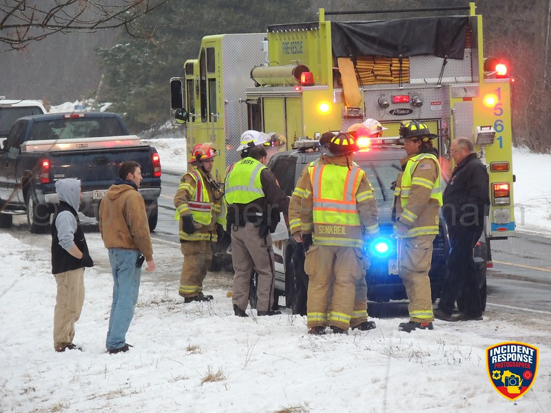 A 16-year-old boy from Oostburg was seriously injured in a single vehicle rollover crash on County Road V in the Town of Wilson, Wisconsin on Friday, March 17, 2017. Photo by Asher Heimermann/Incident Response.