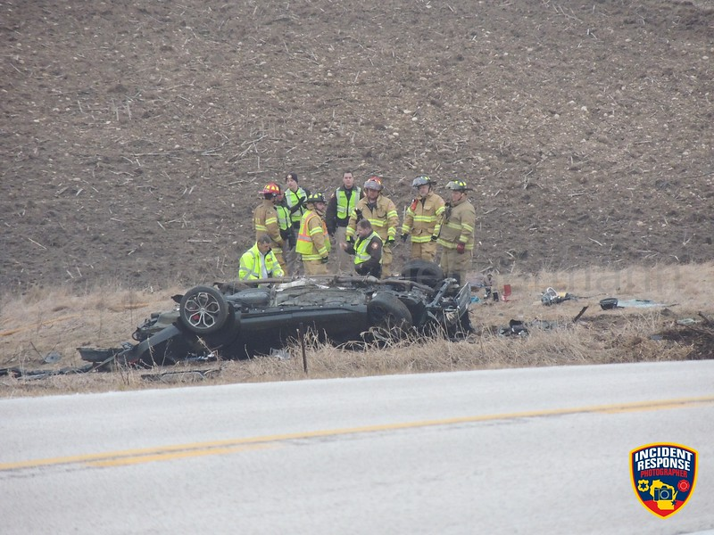 Single vehicle rollover crash on County Road SS at W. Bates Road in the Town of Sherman, Wisconsin on Monday, March 27, 2017. Photo by Asher Heimermann/Incident Response.
