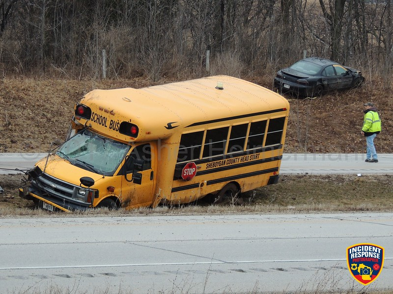 A Sheboygan County Head Start bus rolled over on Interstate 43 in Sheboygan, Wisconsin on Monday, April 3, 2017. Photo by Asher Heimermann/Incident Response.