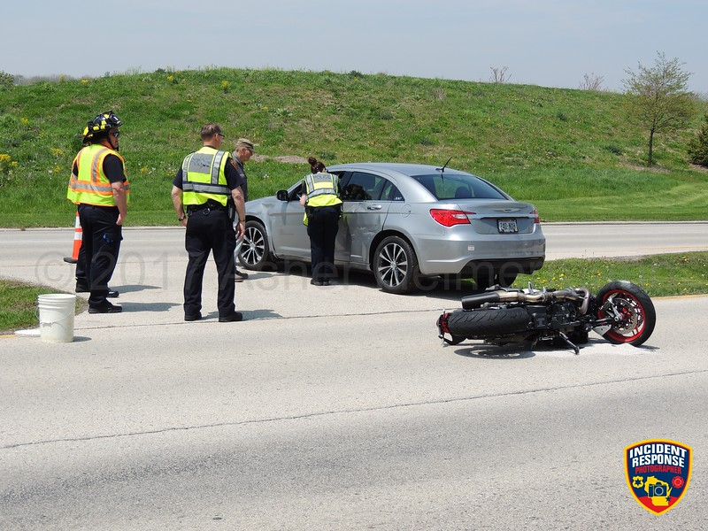 A motorcyclist was struck by a car and injured on South Taylor Drive south of Union Avenue in Sheboygan, Wisconsin on Tuesday, May 16, 2017. Photo by Asher Heimermann/Incident Response.
