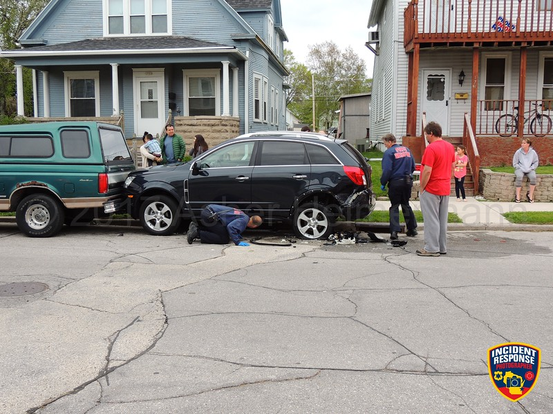 A vehicle crashed into another vehicle in the 1700 block of South 14th Street in Sheboygan, Wisconsin on Sunday, May 21, 2017. Photo by Asher Heimermann/Incident Response.