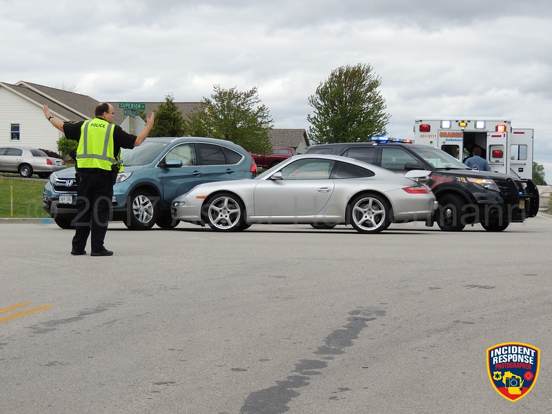 Two-vehicle accident with injuries at Woodland Avenue & Superior Avenue in Kohler, Wisconsin on Sunday, May 21, 2017. Photo by Asher Heimermann/Incident Response.