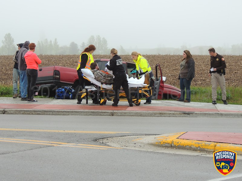 Single vehicle accident with injuries at County Road A & Weeden Creek Road (County Road EE) in the Town of Wilson, Wisconsin on Tuesday, May 23, 2017. Photo by Asher Heimermann/Incident Response.