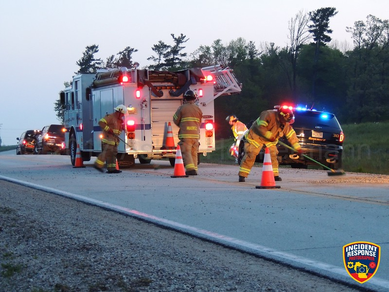 Single vehicle accident on County Road M south of Hillside Road in the Town of Sheboygan Falls, Wisconsin on Thursday, May 25, 2017. Photo by Asher Heimermann/Incident Response.