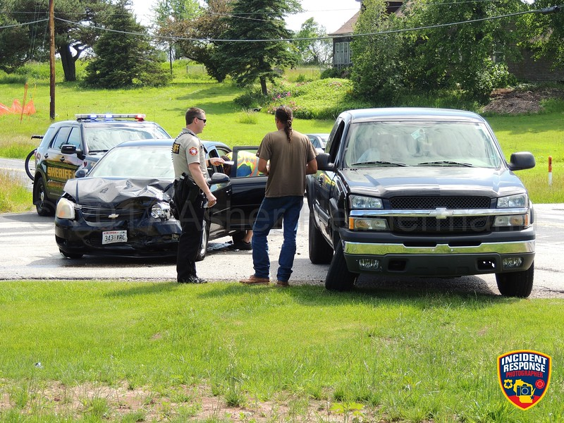 Two-vehicle accident at South Business Drive & Stahl Road in the Town of Wilson, Wisconsin on Friday, June 16, 2017. Photo by Asher Heimermann/Incident Response.