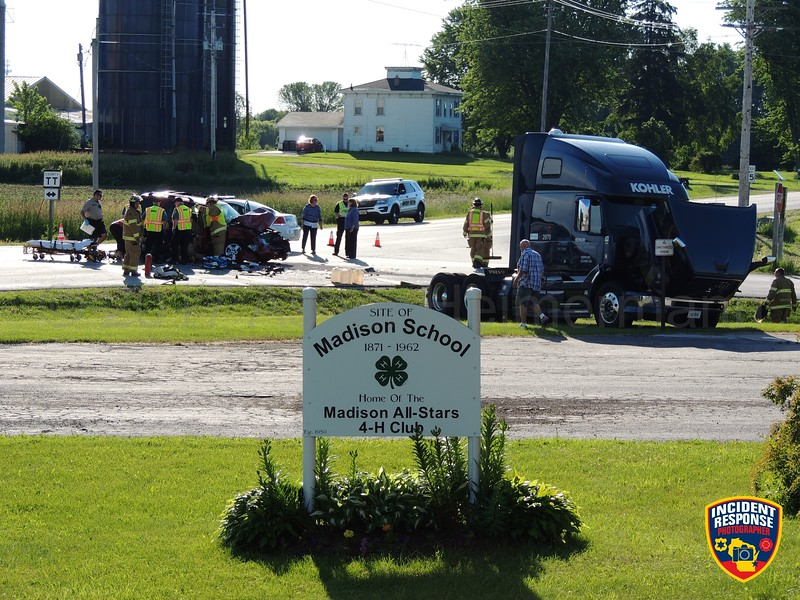 Vehicle vs. semi accident on County Road C at County Road TT in the Town of Sheboygan Falls, Wisconsin on Tuesday, June 20, 2017. Photo by Asher Heimermann/Incident Response.