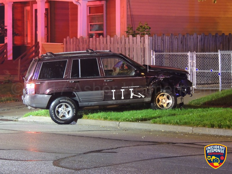 Two-vehicle accident involving a house at North 13th Street & Bluff Avenue in Sheboygan, Wisconsin on Thursday, June 22, 2017. Photo by Asher Heimermann/Incident Response.