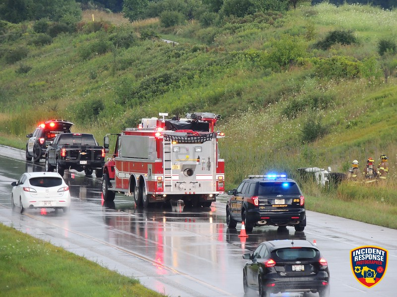 Single-vehicle rollover accident on Highway 23 west of Woodland Road in Kohler, Wisconsin on Thursday, August 10, 2017, Photo by Asher Heimermann/Incident Response.