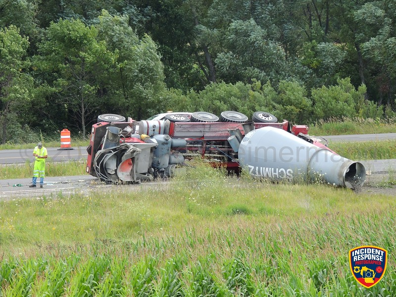 A concrete mixer truck rolled over on Interstate 43 at Garton Road in Sheboygan, Wisconsin on Thursday, August 17, 2017. Photo by Asher Heimermann/Incident Response.