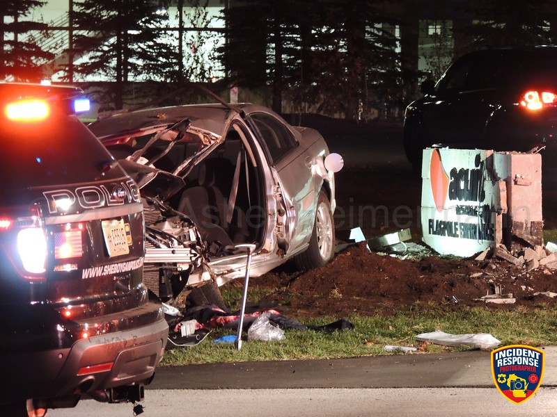 A driver was killed after crashing into a sign in front of Acuity Insurance on South Taylor Drive in Sheboygan, Wisconsin on Friday, November 10, 2017. Photo by Asher Heimermann/Incident Response.