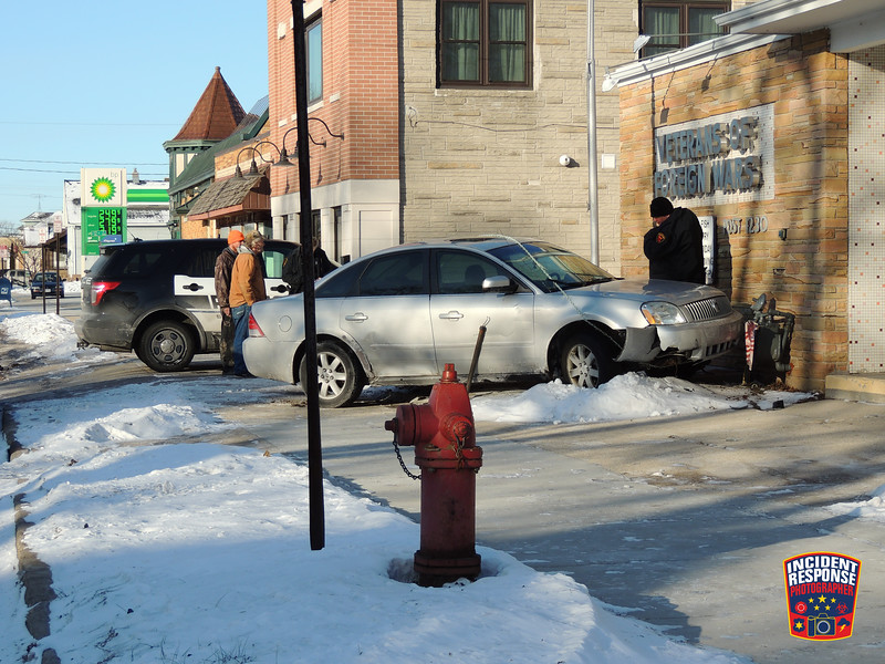 A car crashed into the Veterans of Foreign Wars Post 1230 building at South 12th Street & Union Avenue in Sheboygan, Wisconsin on Sunday, December 31, 2017. Photo by Asher Heimermann/Incident Response.