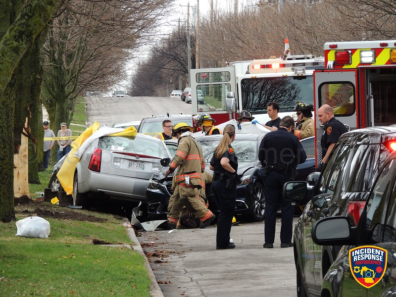 45-year-old Thelonius Childress and 27-year-old Rashanique Eastman were killed in crash involving a parked vehicle and tree in the 1400 block of South 10th Street in Sheboygan, Wisconsin on Wednesday, May 2, 2018. Photo by Asher Heimermann/Incident Response.