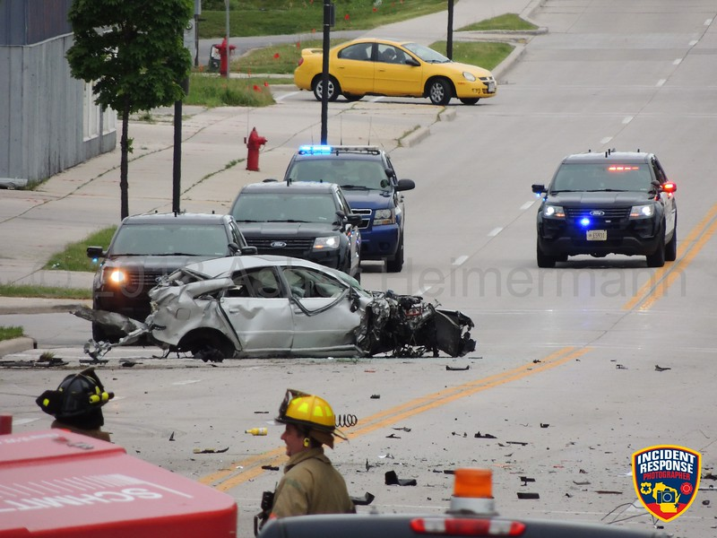 Multi-vehicle crash with injuries involving a cement truck at North 14th Street & New York Avenue on Friday, June 1, 2018. Photo by Asher Heimermann/Incident Response.