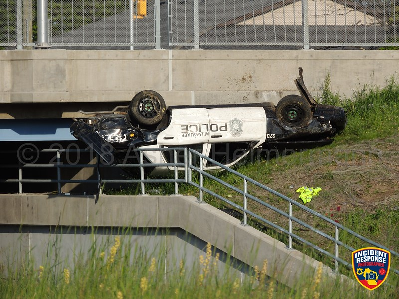 Milwaukee Police Officer Charles Irvine Jr. was killed in a rollover crash during a pursuit at North 76th Street & West Silver Spring Drive in Milwaukee, Wisconsin on Thursday, June 7, 2018. Photo by Asher Heimermann/Incident Response.