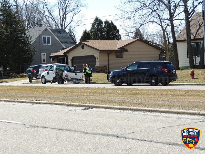 Two-vehicle accident on North Teutonia Avenue near West Dean Road in Brown Deer, Wisconsin on Wednesday, April 3, 2019. Photo by Asher Heimermann/Incident Response.