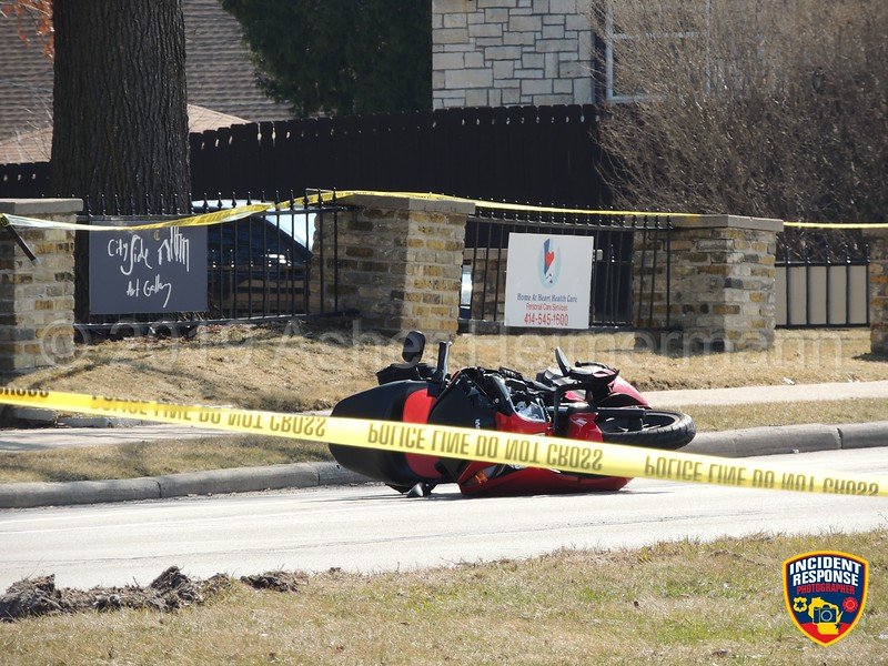 Fatal motorcycle accident at South 46th Street & Forest Home Avenue in Greenfield, Wisconsin on Friday, April 5, 2019. Photo by Asher Heimermann/Incident Response.