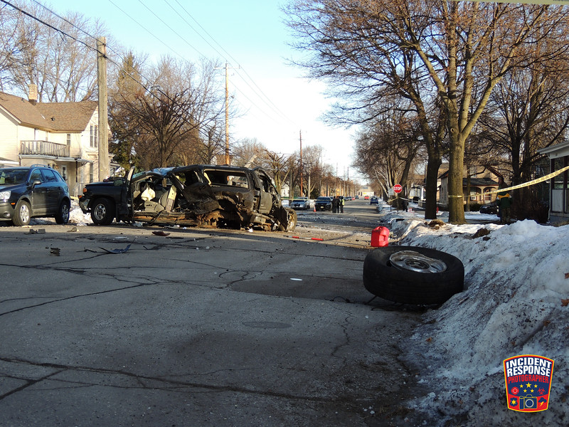 At least two people were injured in a serious two-vehicle crash at South 10th Street & Georgia Avenue in Sheboygan, Wisconsin on Tuesday, February 4, 2020. Photo by Asher Heimermann/Incident Response.