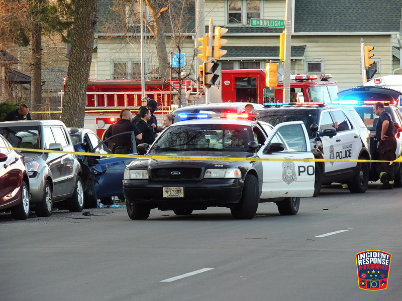 Several people were injured after a two-vehicle crash at North 8th Street & Burleigh Street in Milwaukee, Wisconsin on Saturday, April 18, 2020. Photo by Asher Heimermann/Incident Response.