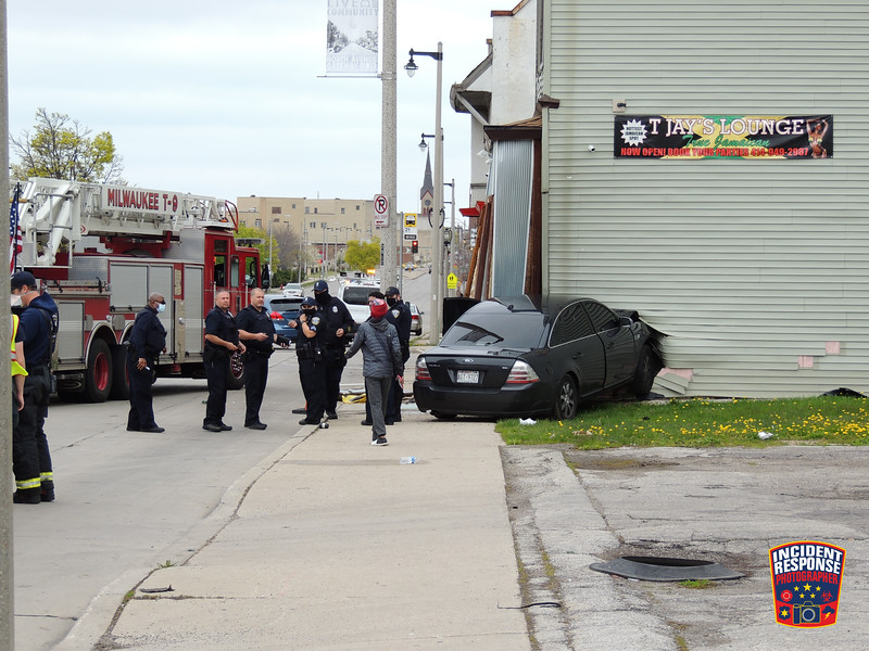 A car struck a building on North Avenue near North 29th Street in Milwaukee, Wisconsin on Thursday, May 14, 2020. Photo by Asher Heimermann/Incident Response.
