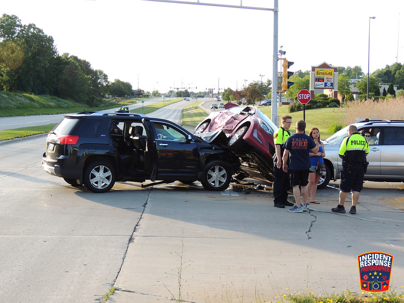 Several people were injured in a three-vehicle rollover crash on South Taylor Drive near Festival Foods on Wednesday, July 1, 2020. Photo by Asher Heimermann/Incident Response.