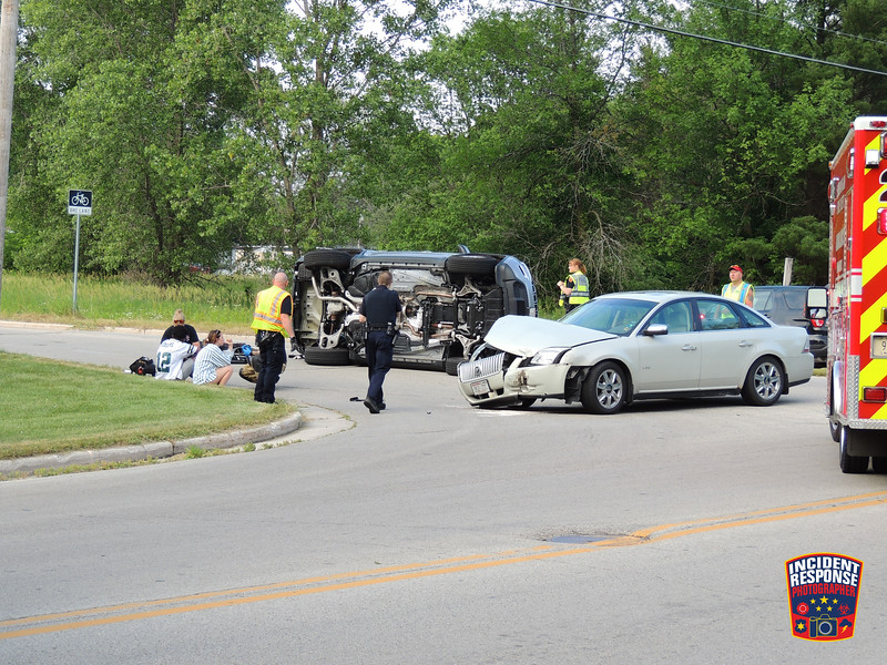 Two-vehicle rollover crash at South 12th Street & Weeden Creek Road in Sheboygan, Wisconsin on Sunday, July 5, 2020. No one was seriously injured. Photo by Asher Heimermann/Incident Response.