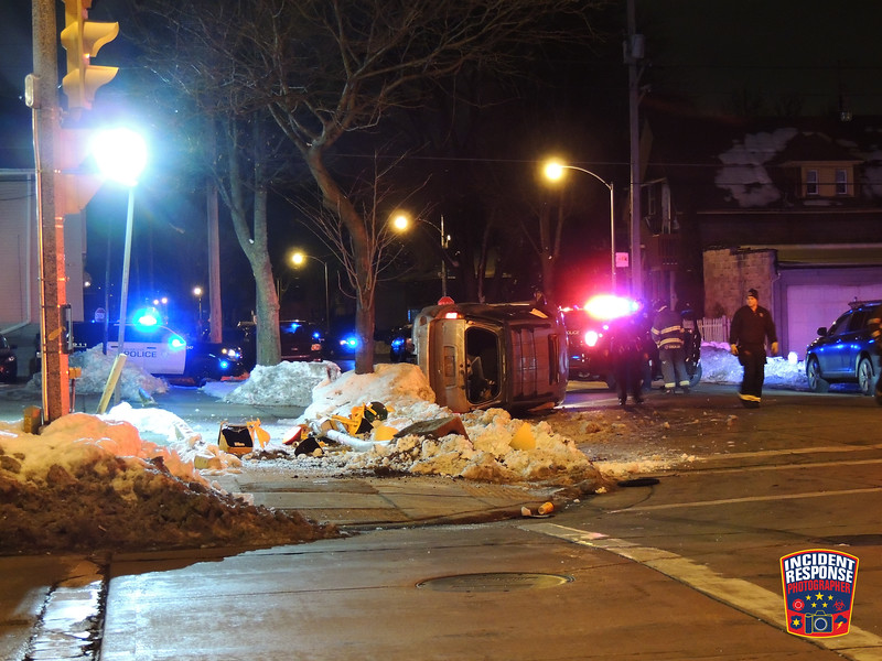 A man was taken into custody after a rollover crash at Cesar Chavez Drive & West Scott Street in Milwaukee, Wisconsin on Saturday, January 9, 2021. Photo by Asher Heimermann/Incident Response.