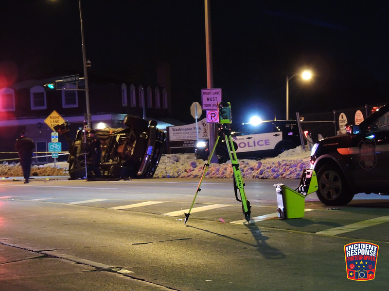 One person was killed and several others were injured after a rollover crash at 22nd Avenue & Washington Road in Kenosha, Wisconsin on Saturday, January 9, 2021. A 36-year-old Illinois driver ran a red light, hitting two other vehicles and killing a 27-year-old female from Illinois. Photo by Asher Heimermann/Incident Response.