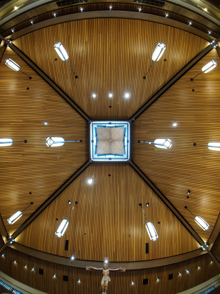 The ceiling of the Chapel of Christ the Teacher on the University of Portland campus in Portland OR. Shot with the Moment Superfish lens on Pixel 2 XL.