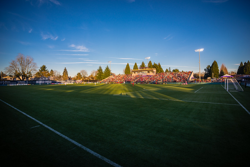 Sunset at Merlo Field in Portland, OR. Portland Thorns FC preseason against Chicago Red Stars.