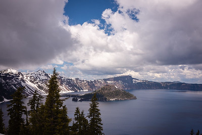 A break in the clouds above Wizard Island at Crater Lake National Park.