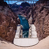 Hoover Dam's powerplant and the Colorado River. Taken with one foot in Arizona and one in Nevada.