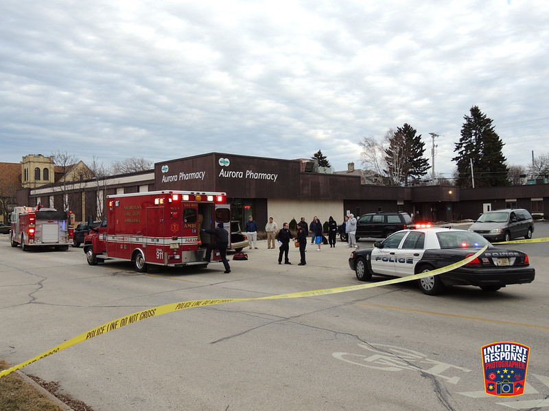 A strong-armed robbery occurred outside the Aurora Pharmacy near North 5th Street & Superior Avenue in Sheboygan, Wisconsin on Monday, March 31, 2014. Photo by Asher Heimermann/Incident Response.