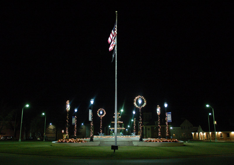 The traffic circle in Greenville, Ohio, on Chnristmas Eve.   (Almost got arrested taking this shot... I was wearing my Santa Claus hat, red flannel shirt... well, you get the idea)