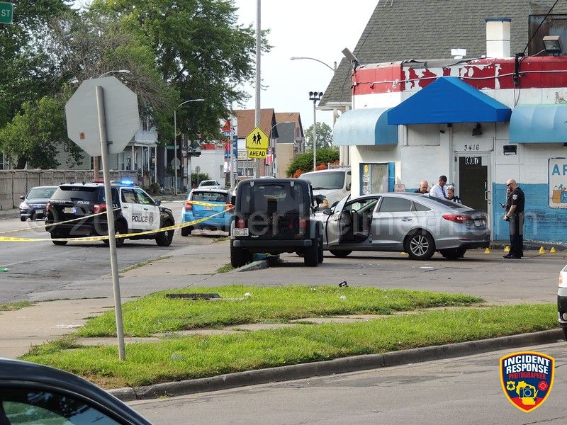 Milwaukee Police investigating a shooting at North 18th Street and Teutonia Avenue on Monday, August 5, 2019. Several shell casings could be observed in the parking lot of a store. Photo by Asher Heimermann/Incident Response.