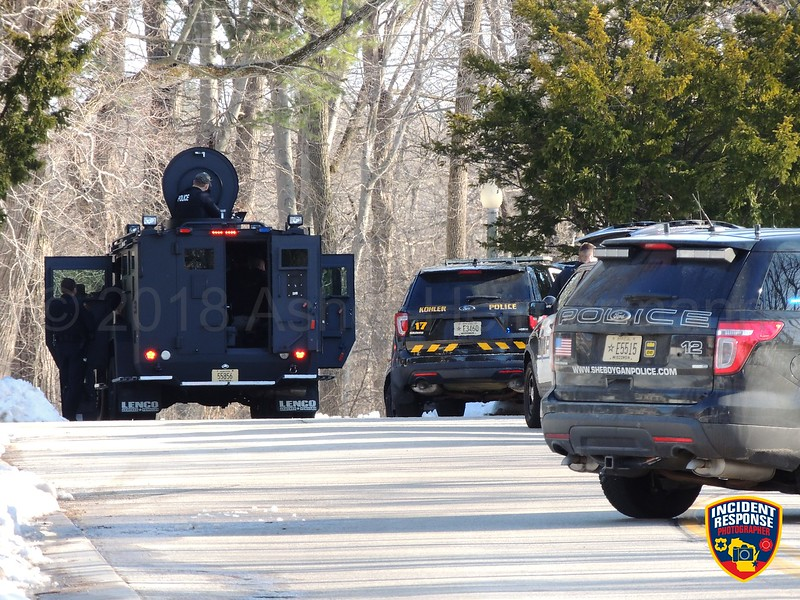 Kohler Police located a suicidal man with a gun that had parked his vehicle in the Waelderhaus parking lot in Kohler, Wisconsin on Thursday, April 19, 2018. Photo by Asher Heimermann/Incident Response.